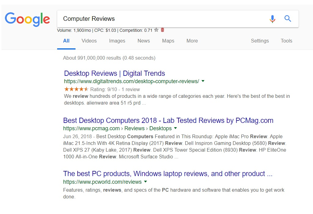 Google Search Results - Computer Reviews