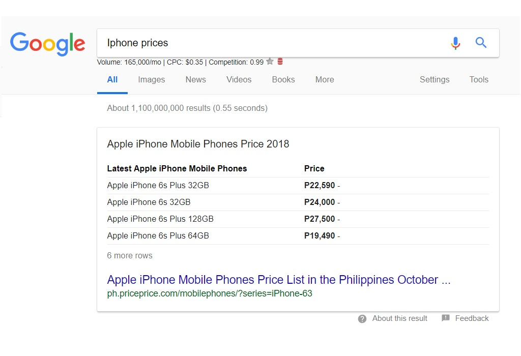 Google Search Results - Iphone Prices
