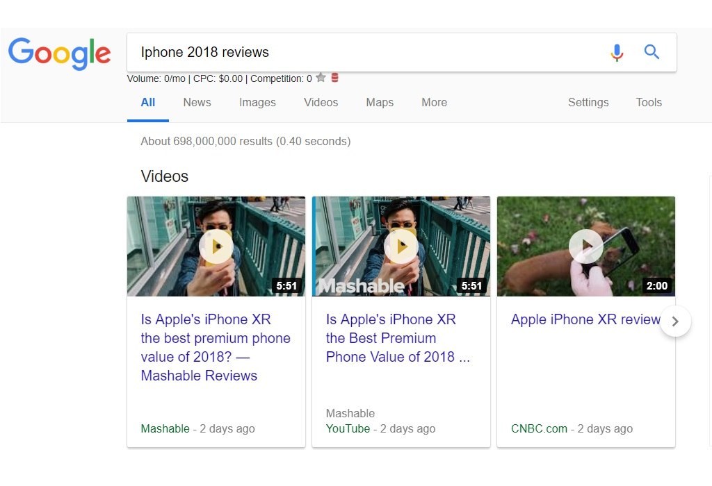 Google Search Results -Iphone Video Reviews