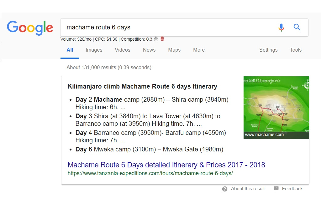 Google Search Results - Machame Route 6 Days
