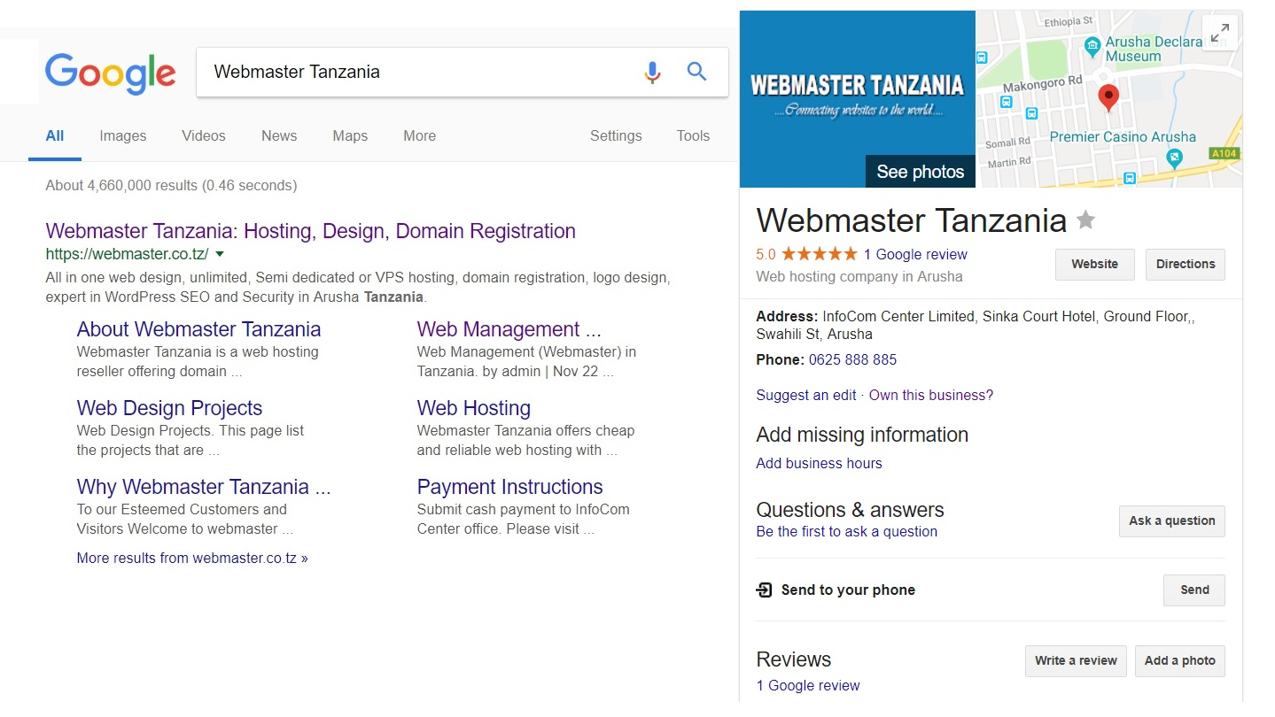 Google Search Results - Webmaster Tanzania Google Listing