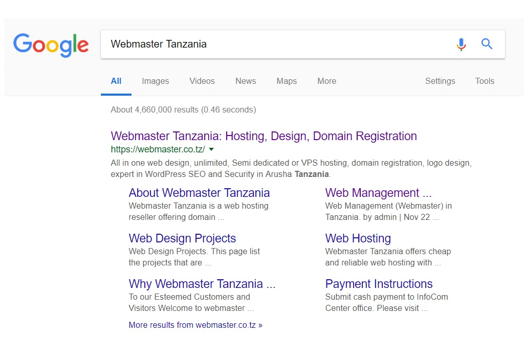Google Search Results - Webmaster Tanzania